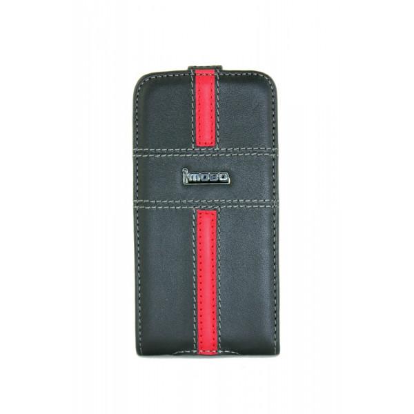 Чехол Флип для iPhone 4/4S iMobo (черный) (кожа)