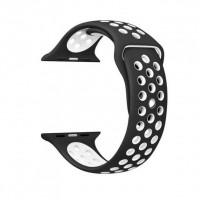 Ремешок-браслет для Apple Watch 38mm Silicone Nike Sport Band (Black-White)