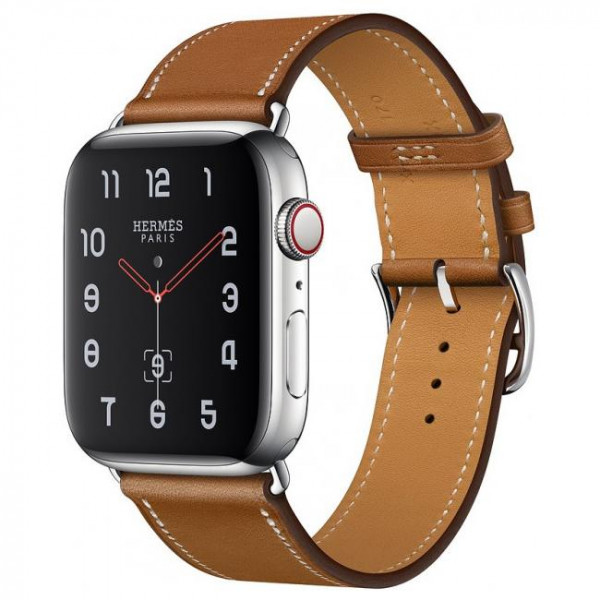 Apple Watch Hermes Series 4 GPS + Cellular 40mm Stainless Steel Case with Fauve Barenia Leather Double Tour (MU6P2)