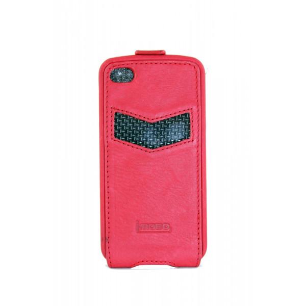 Чехол Флип для iPhone 4/4S iMobo Carbon (красный) (кожа)