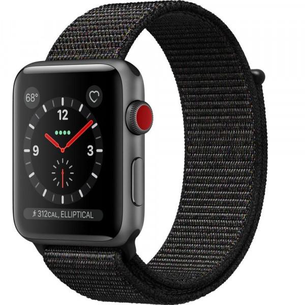 Apple Watch Series 3 GPS + Cellular 42mm Space Gray Aluminum w. Black Sport Loop (MRQF2)