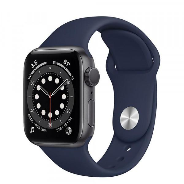 Apple Watch Series 6 GPS 40mm Space Gray Aluminum Case w. Deep Navy Sport B. (MG1A3)