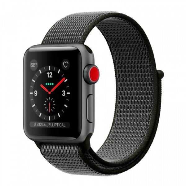 Apple Watch Series 3 GPS + Cellular 38mm Space Gray Aluminum w. Dark Olive Sport L. (MQJT2)