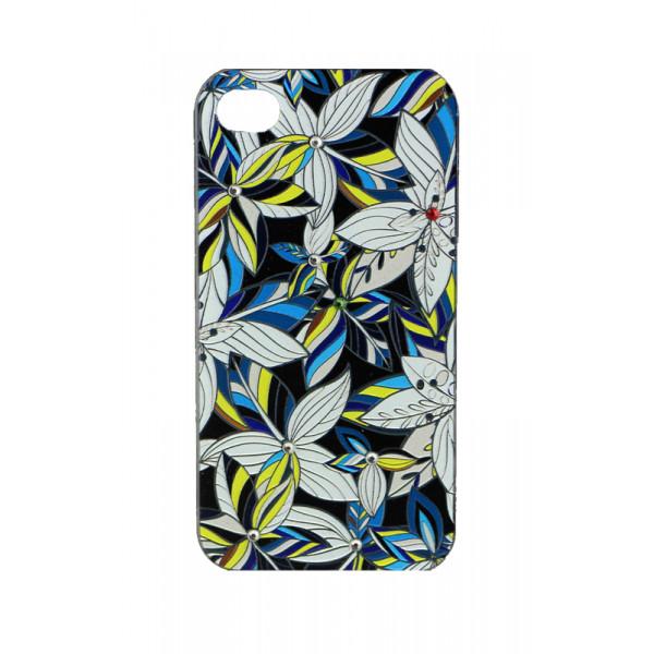 Чехол Накладка для iPhone 4/4S LAVAS SWAROVSKI Flower (Цветной) (Пластик)