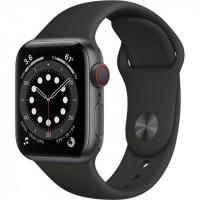 Apple Watch Series 6 GPS + Cellular 40mm Space Gray Aluminum Case w. Black Sport B. (M02Q3)