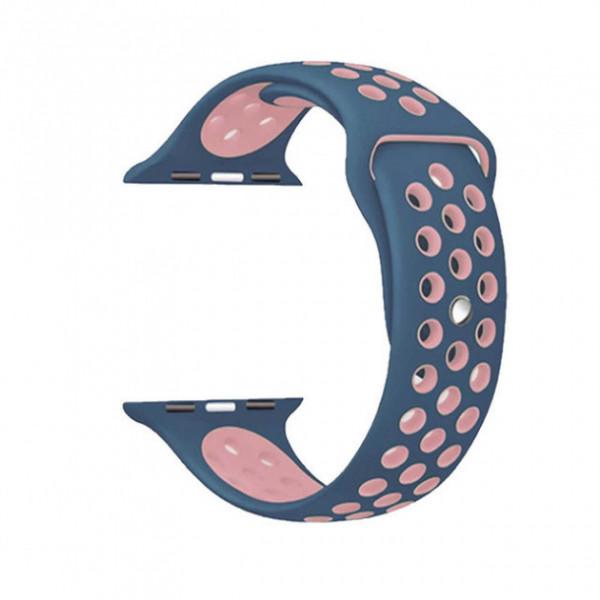 Ремешок-браслет для Apple Watch 38mm Silicone Nike Sport Band (blue-pink)