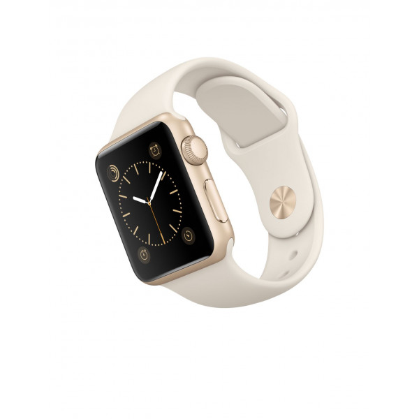 Apple Watch 38mm Gold Aluminum Case with Antique White Sport Band (MLCJ2)