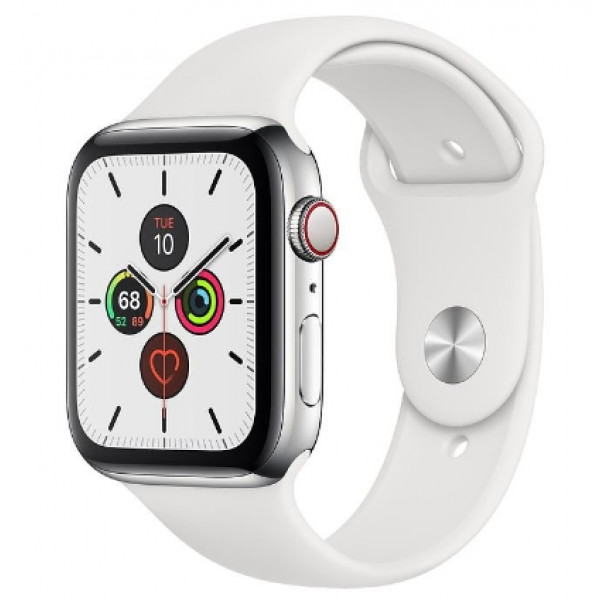 Apple Watch Series 5 LTE 44mm Steel w. White b.- Steel (MWWF2)