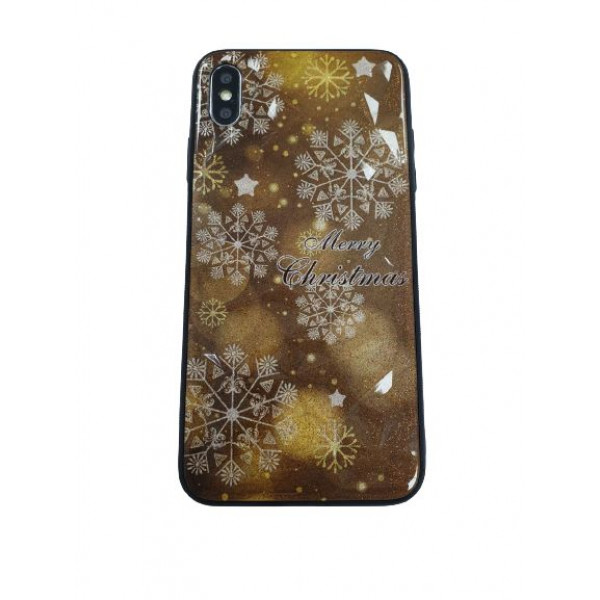 Чехол накладка iPhone Xs Max Rhombus Merry Christmas (gold)