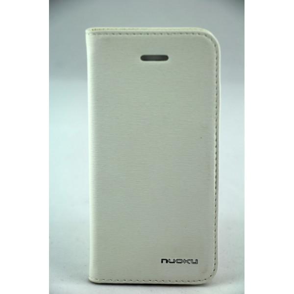 Чехол Книжка для iPhone 5/5S NUOKU LUXE (Белый) (Преcсованая кожа)