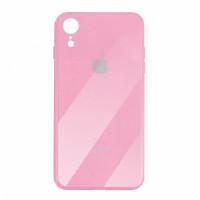 Чехол накладка iPhone Xr  Glass Plastic Case Logo (pink)