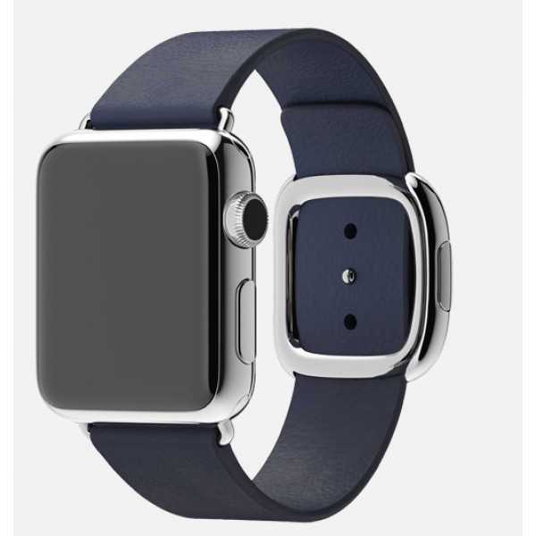 Apple Watch 38mm Stainless Steel Case with Midnight Blue Modern Buckle (MJ332)