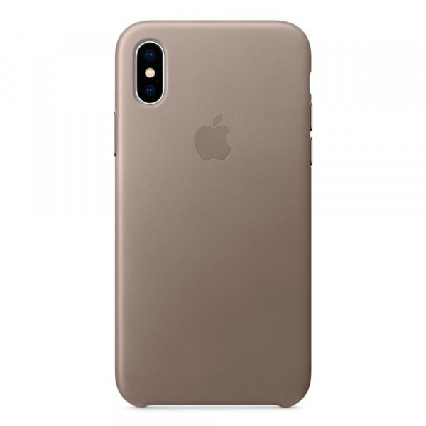Чехол Накладка для iPhone Xs Max Apple Leather Case (Taupe)