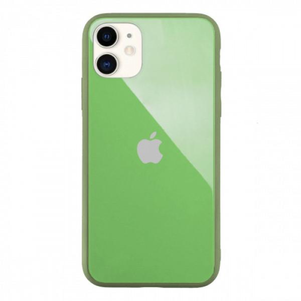 Чехол Накладка для iPhone 11 Glass Pastel color Logo (mint)
