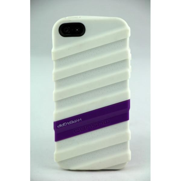 Чехол Накладка для iPhone  5/5S MUSUBO HYPER-GRIP MYMMY (Белый) (Силикон)