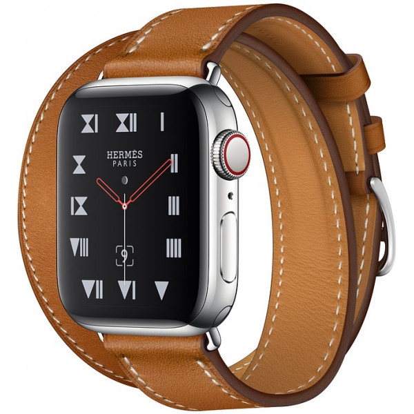 Apple Watch Series 4 Hermès GPS+Cellular 40mm Stainless Steel Case with Bleu Indigo Swift Leather Double Tour