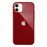 Чехол Накладка для iPhone 11 Glass Pastel color Logo (red)
