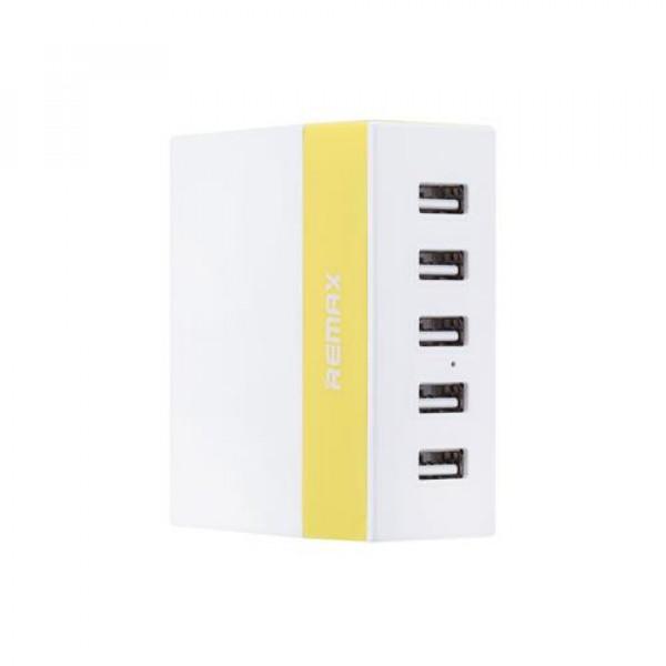 Сетевое зарядное устройство REMAX  RU-U1 5 USB(Жёлтый)