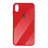 Чехол накладка iPhone Xs Max Glass Plastic Case Logo (red)