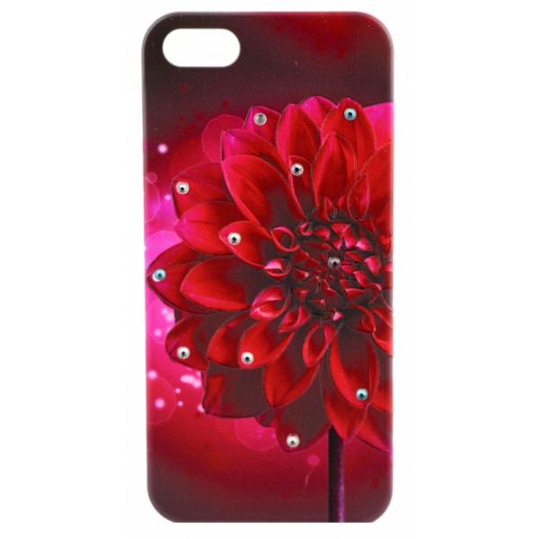 Чехол Накладка для iPhone  5/5S LAVAS SWAROVSKI Fower (Бордовый) (Пластик)