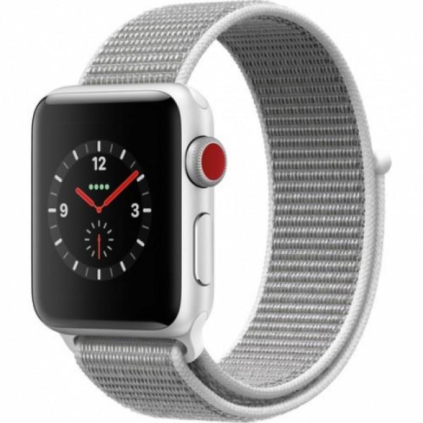 Apple Watch Series 3 GPS + Cellular 38mm Silver Aluminum w. Seashell Sport L. (MQJR2)