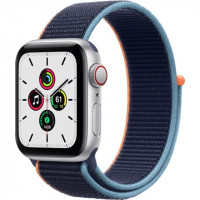Apple Watch SE GPS + Cellular 40mm Silver Aluminum Case with Deep Navy Sport L. (MYE92, MYEG2)