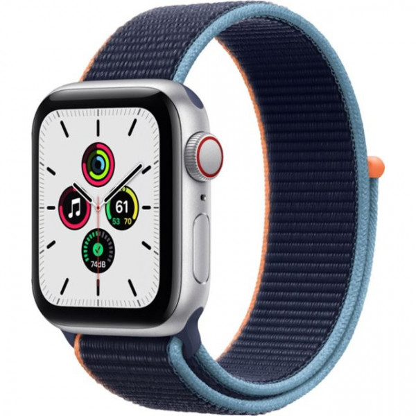 Apple Watch SE GPS + Cellular 40mm Silver Aluminum Case with Deep Navy Sport L. (MYE92, MYEG2)