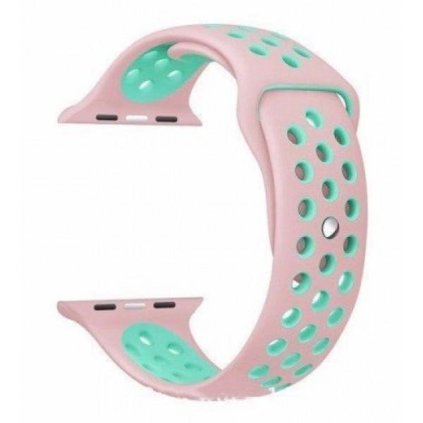 Ремешок-браслет для Apple Watch 42mm Silicone Nike Sport Band (Rose-Sea Blue)