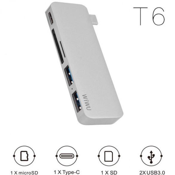 Переходник WiWU HUB Type-C 5-in-1 T6 (Silver)
