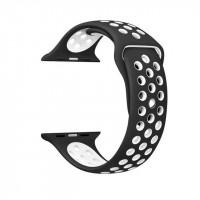 Ремешок-браслет для Apple Watch 42mm Silicone Nike Sport Band (Black-White)