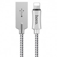 Кабель Lightning Hoco U10 Zinc Alloy Reflective Knitted Lightning Cable (Silver)