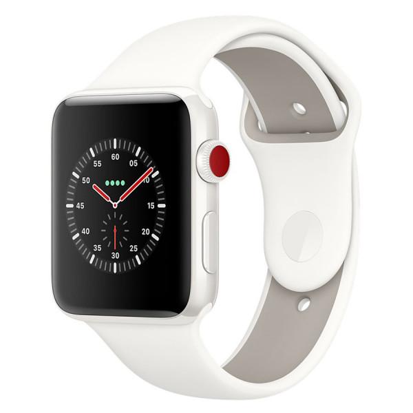 Apple Watch Series 3 GPS + Cellular 38mm Stainless Steel w. Soft White Sport B. (MQJV2)