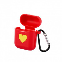 Чехол для AirPods Silicone Case Heart с карабином (red)