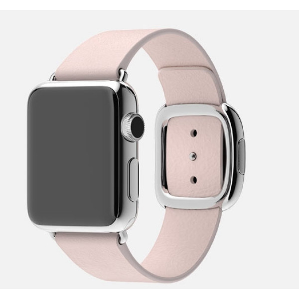 Apple Watch 38mm Stainless Steel Case with Soft Pink Modern Buckle (MJ362)