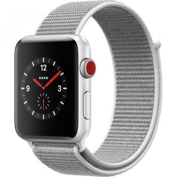 Apple Watch Series 3 GPS + Cellular 42mm Silver Aluminum w. Seashell Sport L. (MQK52)