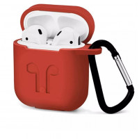 Чехол для AirPods Silicone Case with Logo and Carbine (red)