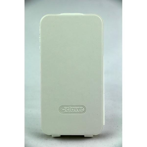 Чехол Флип для iPhone 4/4S CLOVER (Белый) (кожа)