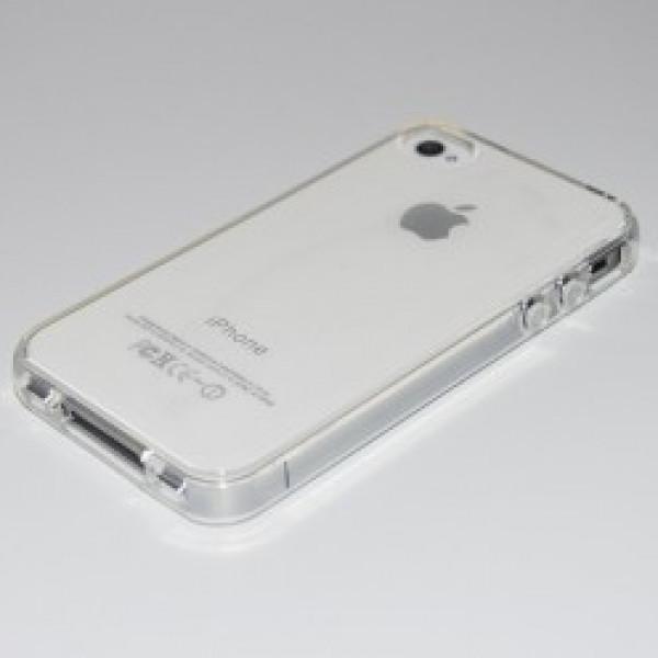 Чехол Накладка для iPhone 4/4S Baseus Shining Case (Прозрачный/Серебристый) (Силикон)