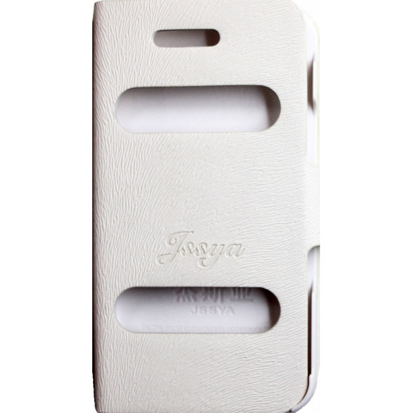 Чехол Книжка для iPhone 4/4S JSSYA (Белый) (Полиулетан)