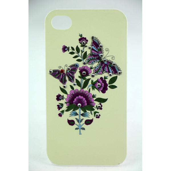 Чехол Накладка для iPhone 4/4S LAVAS SWAROVSKI Butterfly (Белый) (Пластик)
