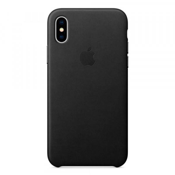 Чехол Накладка для iPhone Xs Max Apple Leather Case (Black)
