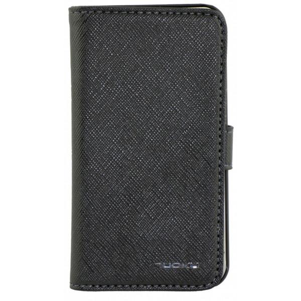 Чехол Книжка для iPhone 4/4S NUOKU BOOK (Черный) (Преcсованая кожа)