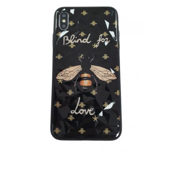 Чехол накладка iPhone Xs Max Rhombus Gucci Blind for Love (black)
