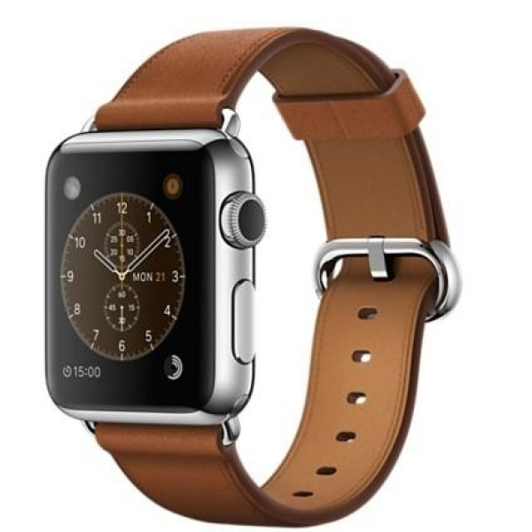 Apple Watch 38mm Stainless Steel with Saddle Brown Classic Buckle (MMF72)