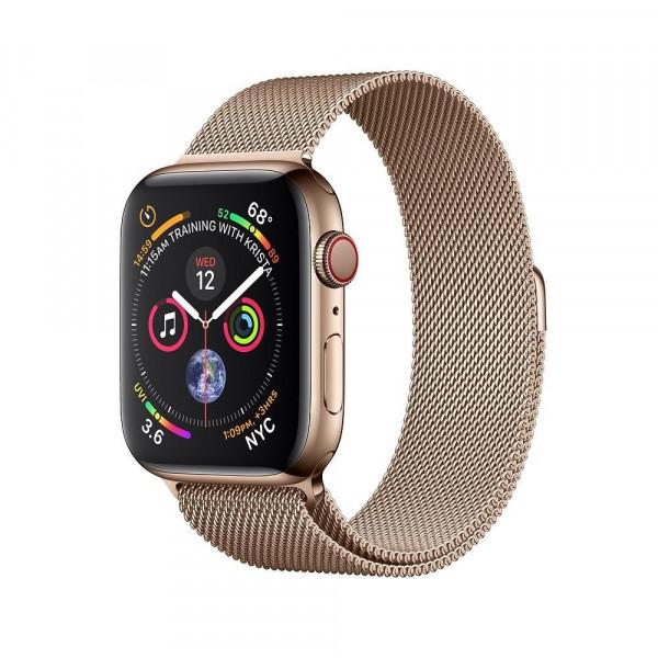 Apple Watch Series 4 GPS + LTE 44mm Gold Steel w. Gold Milanese l. Gold Steel (MTX52)
