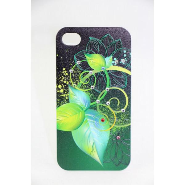 Чехол Накладка для iPhone 4/4S LAVAS SWAROVSKI Leaflet (Зелёный) (Пластик)
