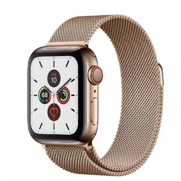 Apple Watch Series 5 LTE 40mm Gold Steel w. Gold Milanese Loop - Gold Steel (MWWV2, MWX72)