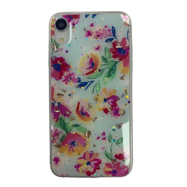 Чехол накладка iPhone Xr  Magic Flower (sky blue)