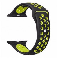 Ремешок-браслет для Apple Watch 42mm Silicone Nike Sport Band (Black-Green)