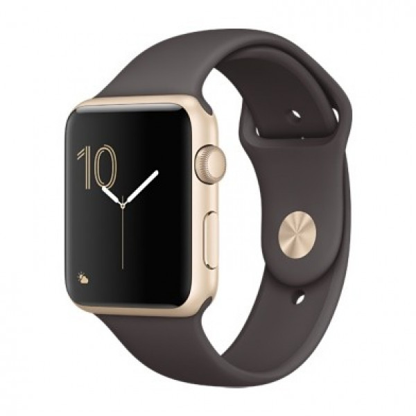 Apple Watch Series 1 42mm Gold Aluminum Case with Cocoa Sport Band (MNNN2)